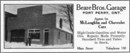 Beare Bros. Garage, Port Perry, Ont.  Advertisement