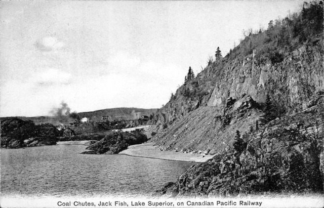 [Coal Chutes, Jack Fish, Lake Superior, on Canadian Pacific Railway Postcard]