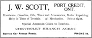 J. W. Scott, Port Credit, Ont. Advertisement