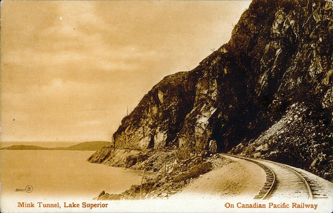 [Mink Tunnel, Lake Superior on Canadian Pacific Railway Postcard]