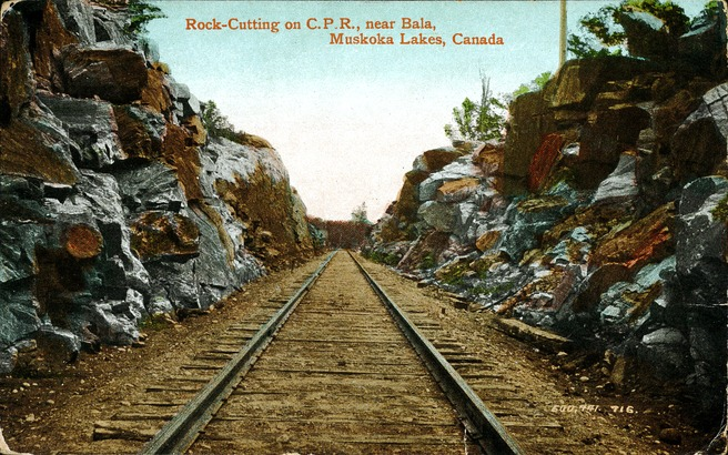 [Rock-Cutting on C.P.R., Near Bala, Muskoka Lakes, Canada Postcard]