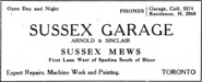 Sussex Garage Advertisement
