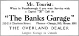 The Banks Garage Advertisement