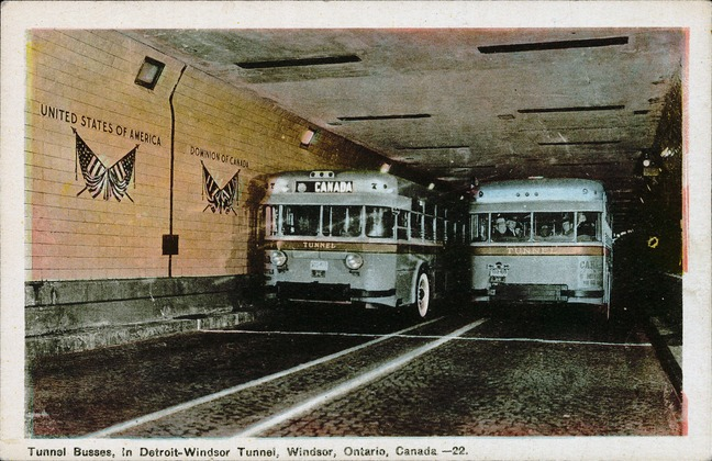 [Tunnel Busses in Detroit-Windsor Tunnel, Windsor, Ontario, Canada Postcard]