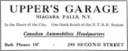 Upper's Garage Advertisement
