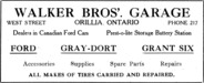 Walker Bros' Garage Advertisement